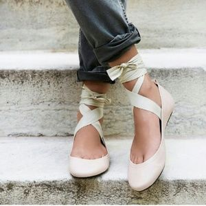 Free People Lace up ballet flats
